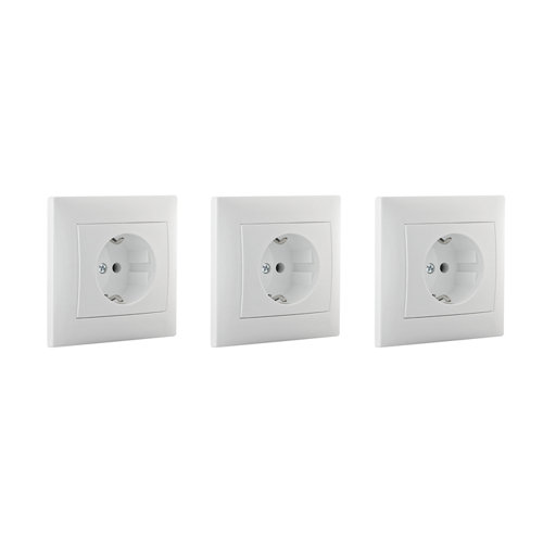 Pack de 3 enchufes monoblock lika color blanco