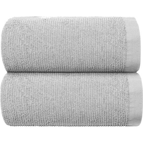 Toalla de algodón gris / plata 70 x 140 cm