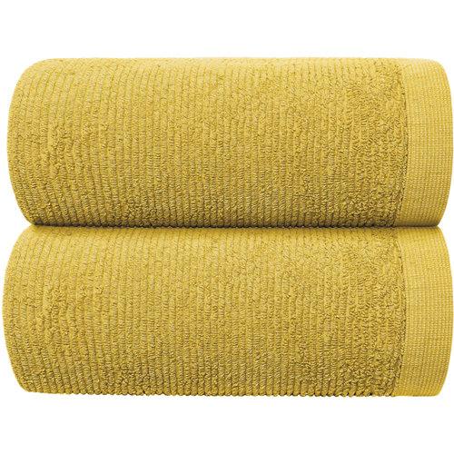 Toalla de algodón amarillo / dorado 70 x 140 cm