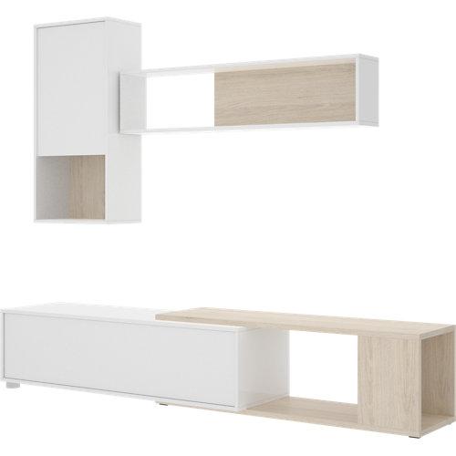 Mueble leo para salón blanco y madera natural 205x180x41 cm