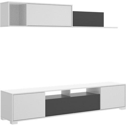 Mueble zia para salón blanco y gris 200x180x41 cm