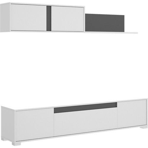 Mueble ciro para salón blanco y gris grafito 200x180x41 cm