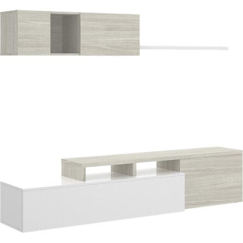 Mueble noor para salón blanco y gris 200x180x41 cm