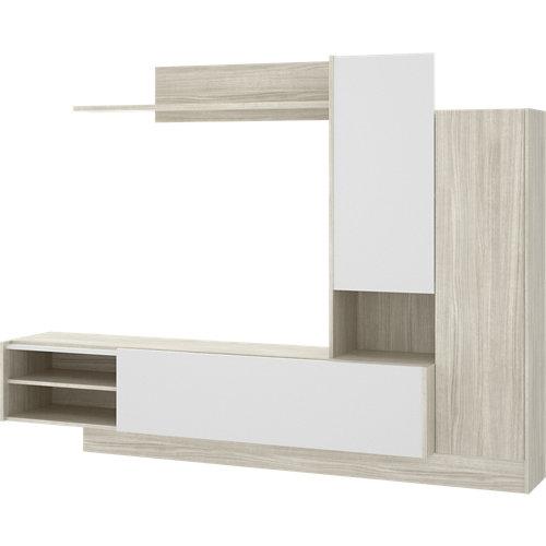Mueble liv para salón blanco y gris 218x168x40 cm