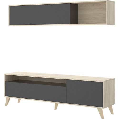 Mueble ada para salón gris y madera natural 180x180x41 cm