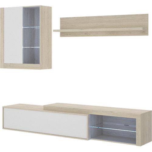 Mueble agni para salón blanco y madera natural 215x180x41 cm