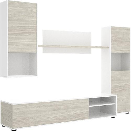 Mueble hebe para salón blanco y madera color gris 220x180x41 cm