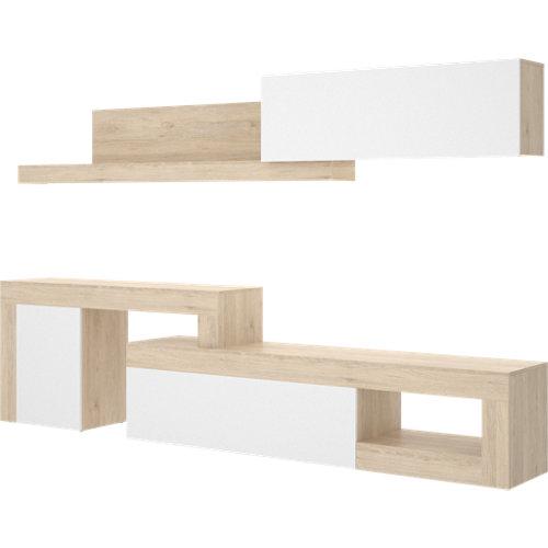 Mueble cira para salón blanco y madera natural 260x180x42 cm