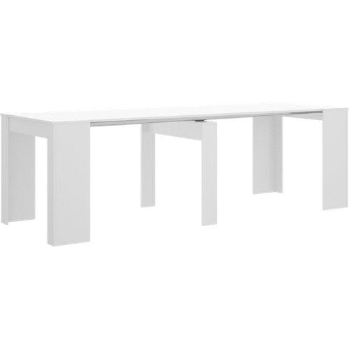 Mesa extensible de madera arya de 54 a 239 cm blanco brillo