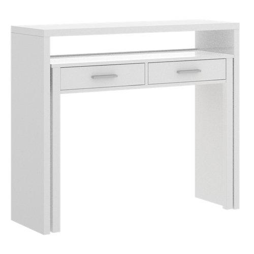 Mesa de escritorio extensible cloe blanco brillo 99x88x36 cm