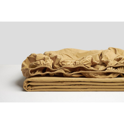 Sabana bajera ajustable cama 90cm percal liso mostaza w.g.