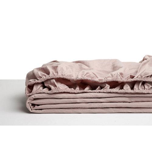 Sabana bajera ajustable cama 90cm percal liso smokey pink w.g.