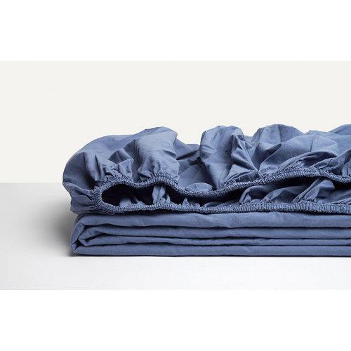 Sábana bajera ajustable cama 105cm percal liso blueberry w.g.