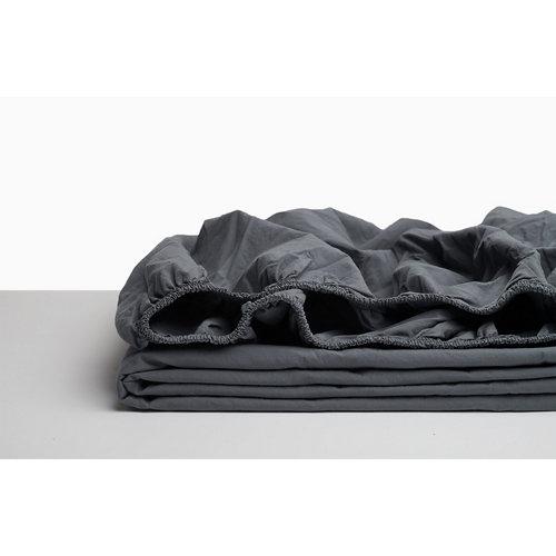 Sabana bajera ajustable cama 135cm percal liso gris w.g.