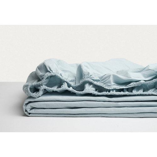 Sábana bajera ajustable cama 150cm percal liso baby blue w.g.