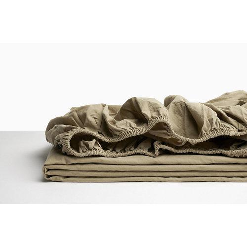 Sabana bajera ajustable cama 150cm percal liso bronce w.g.