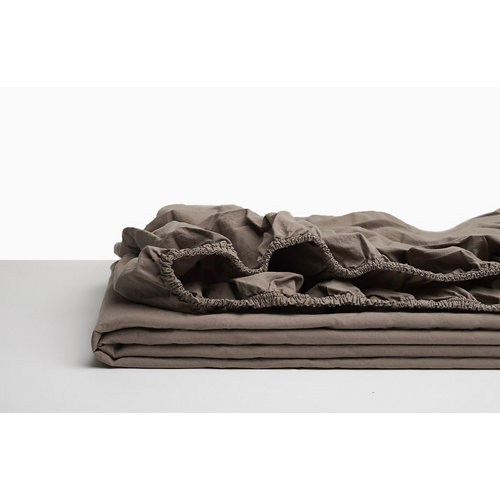 Sabana bajera ajustable cama 150cm percal liso taupe w.g.