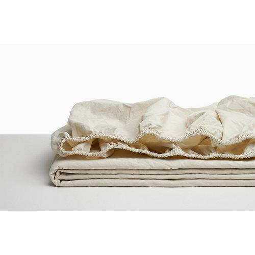 Sabana bajera ajustable cama 200cm percal liso avena w.g.