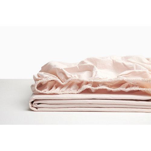 Sábana bajera ajustable cama 200cm percal liso baby pink w.g.