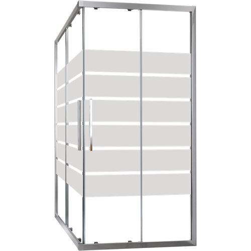 Mampara cuadrada corredera cool life transparente perfil cromado 90x80 cm