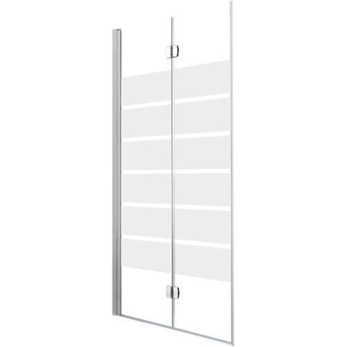 Mampara plegable cool life serigrafiado perfil cromado 90x200 cm