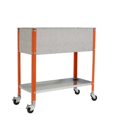 Huerto urbano alto naranja con ruedas 120x40