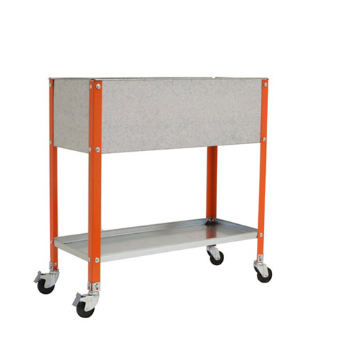 Huerto urbano alto naranja con ruedas 120x60