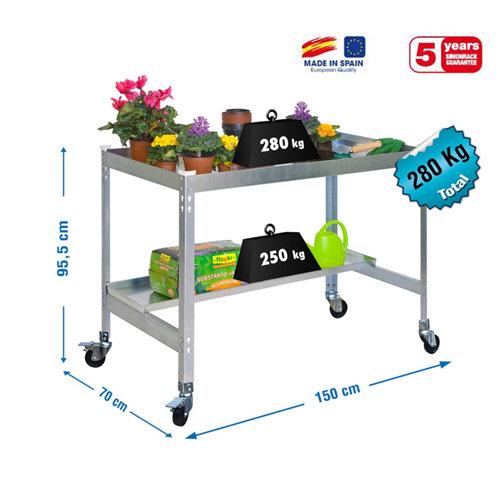 Mesa de cultivo galva con ruedas 150x60
