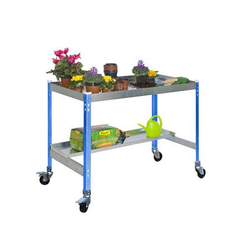 Mesa de cultivo azul con ruedas 150x60