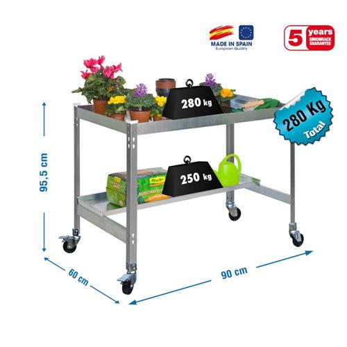Mesa de cultivo gris con ruedas 90x60