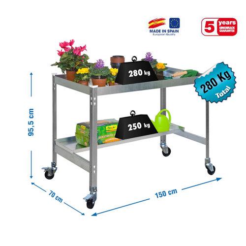 Mesa de cultivo gris con ruedas 150x60