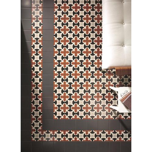 Baldosa cerámica de 20x20 cm en color blanco / negro / rojo