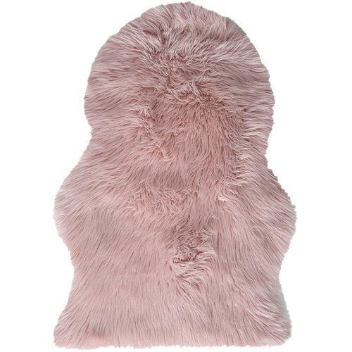 Alfombra pie de cama rosa acrílico animal skin 60 x 90cm
