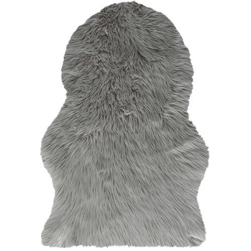 Alfombra pie de cama gris acrílico animal skin 60 x 90cm