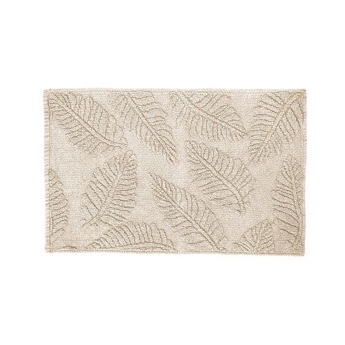 Alfombra beige algodón hojas beige 50 x 80cm