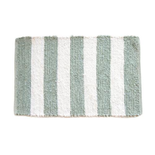 Alfombra verde algodón rayas verde 60 x 90cm