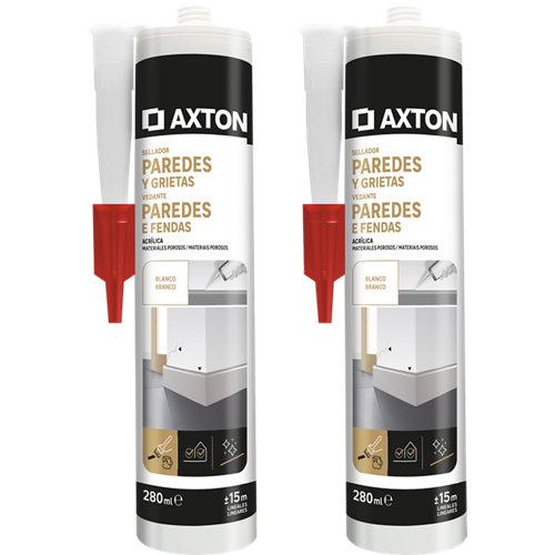 Pack de 2 siliconas para paredes y grietas axton 280 ml blanco