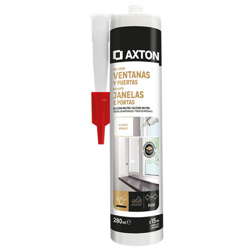 Silicona neutra para ventanas y puertas axton 280 ml blanco