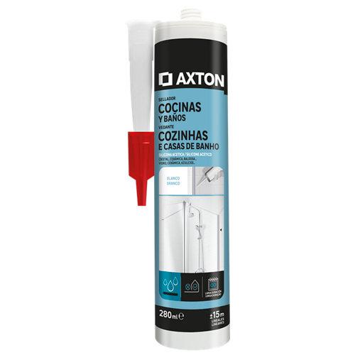 Silicona acética para cocinas y baños axton 280 ml blanco