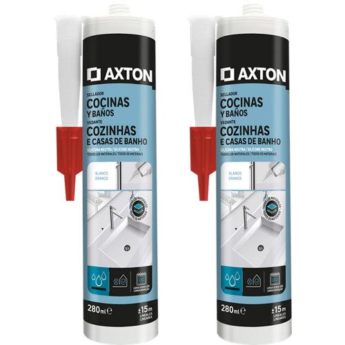 Pack de 2 siliconas neutra para cocinas y baños axton 280 ml blanco
