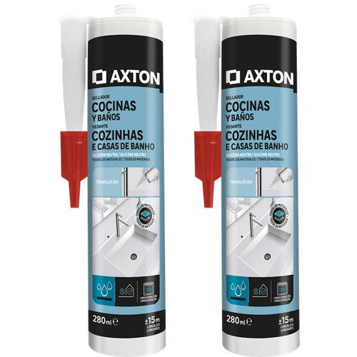 Pack de 2 siliconas neutra para cocinas y baños axton 280 ml transparente
