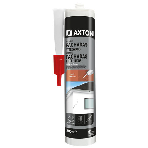 Silicona para fachadas y tejados axton 280 ml rojo