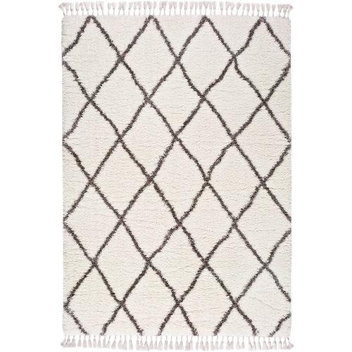 Alfombra pie de cama blanca poliéster bereber samira 60 x 120cm