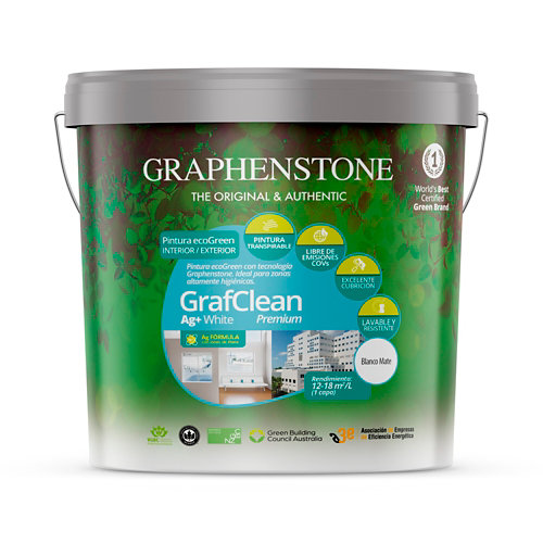 Pintura grafclean ag+ premium graphenstone 15l blanco