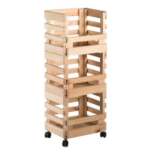 Carro tres cajas apilables de madera de pino 90x38x30cm