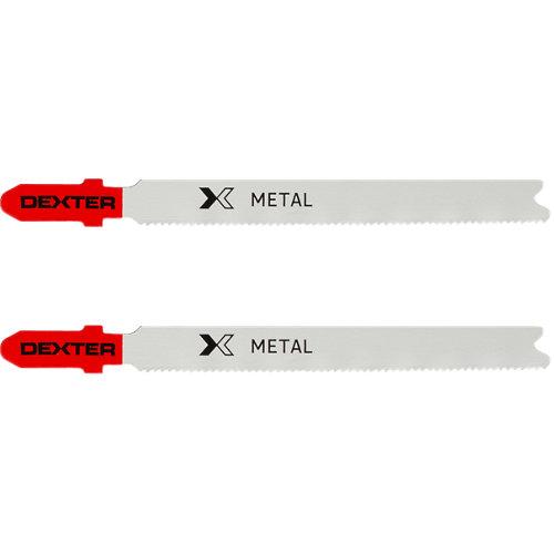 Lote 2 hojas de sierra calar dexter metal de 92 mm corte recto 1 a 3 mm