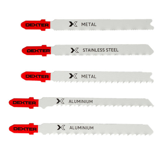 Lote 5 hojas de sierra dexter de 76 mm para metal corte recto de 0,5 a 15 mm