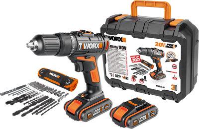 Taladro percutor WORX 20V 2 baterías 2AH +Set accesorios