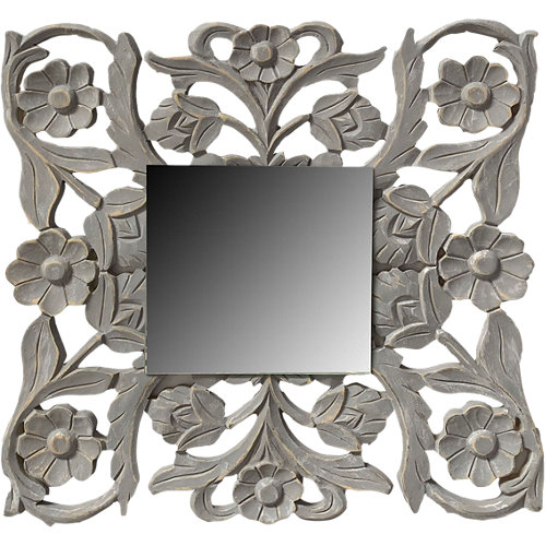 Espejo cuadrada sobre mandala gris 60 x 60 cm