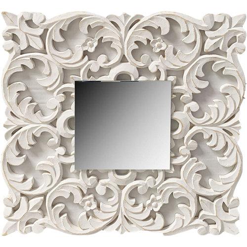 Espejo cuadrada sobre mandala blanco 60 x 60 cm